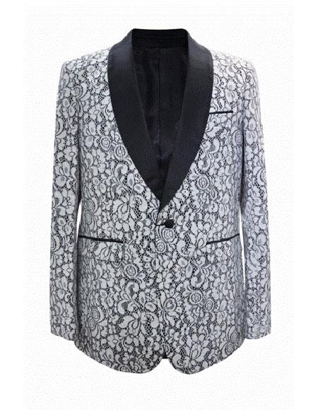 Cheap Priced Men's Printed Unique Patterned Print Floral Tuxedo Flower Jacket Prom custom celebrity modern Tux White