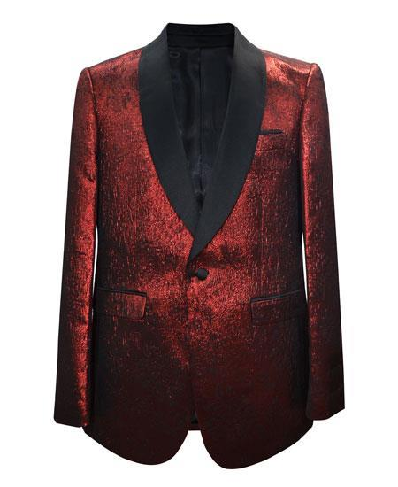 Mens Red Songle Breasted One Button Peak Lapel Tuxedo - Red Tuxedo