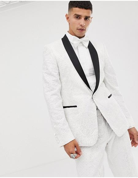 Mens White Tuxedo Single Breasted One Button Suit