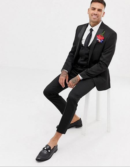 Mens Skinny Fit Black One Button  Tuxedo