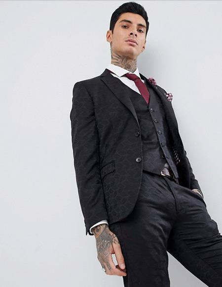 Men's Black Skinny Fit  Two Button Tuxedo Jacket