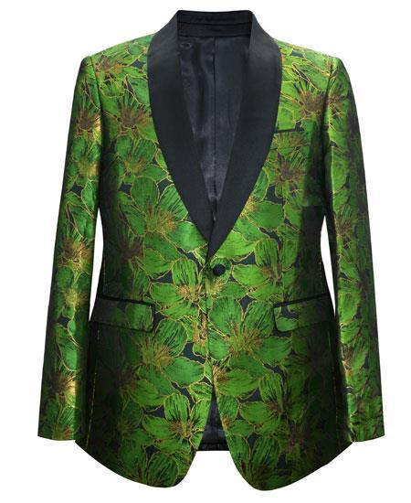 Cheap Priced Men's Printed Unique Patterned Print Floral Tuxedo Flower Jacket Prom custom celebrity modern Tux Green