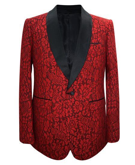 Men's Red Paisley Pattern Unique Patterned Print Floral Tuxedo - Red Tuxedo