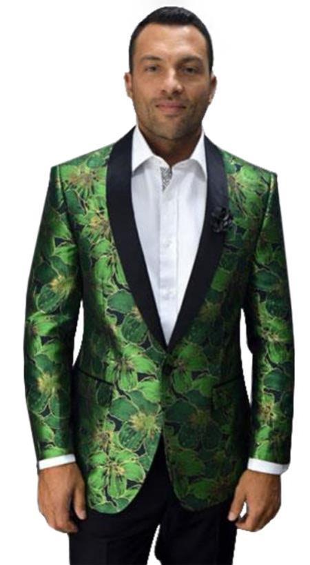 Men's Green Printed Unique Patterned Print Floral Flower Custom Celebrity Modern Tuxedo