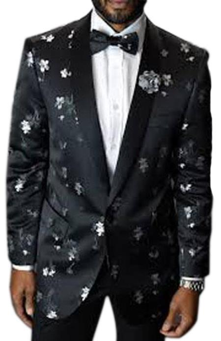 Cheap Priced Men's Printed Unique Patterned Print Floral Tuxedo Flower Jacket Free Matching bowtie Prom custom celebrity modern Tux Black
