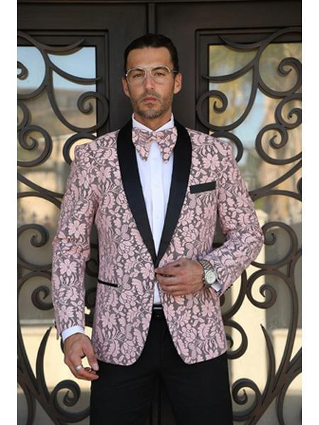 Cheap Priced Men's Printed Unique Patterned Print Floral Tuxedo Flower Jacket Prom custom celebrity modern Tux Pink