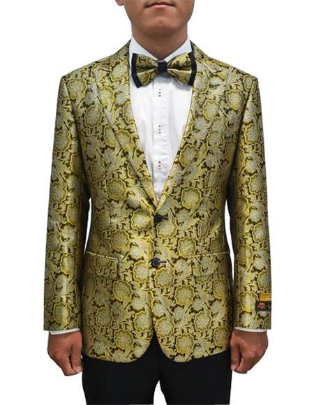 Cheap Men's Bronze ~ Camel Printed Unique Patterned Print Floral Tuxedo Flower Jacket Prom custom