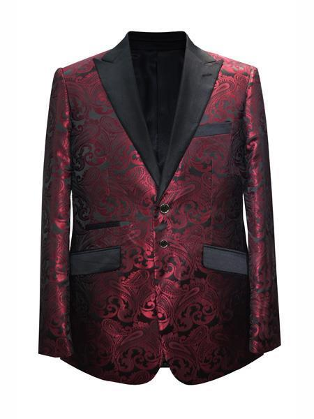 Maroon  Wine Mens Printed Patterned Print Floral Tuxedo
