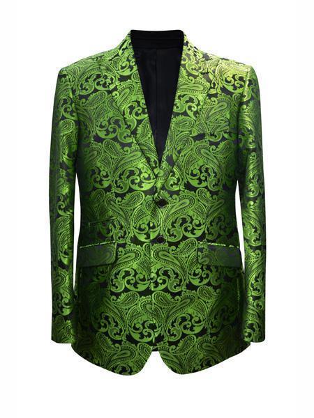 Cheap Mens Printed Unique Patterned Print Floral Tuxedo Flower Jacket Prom custom celebrity modern Tux Lime