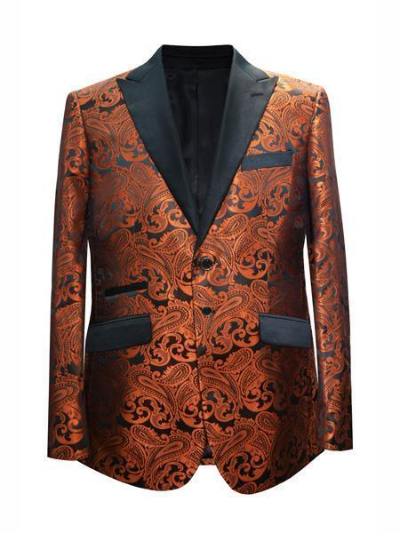 Cheap Mens Printed Unique Patterned Print Floral Tuxedo Flower Jacket Prom custom celebrity modern Tux Rust ~ Coganc ~ Light Brown