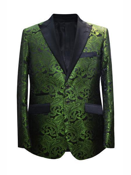 Cheap Mens Printed Unique Patterned Print Floral Tuxedo Flower Jacket Prom custom celebrity modern Tux Dark Green ~ Hunter