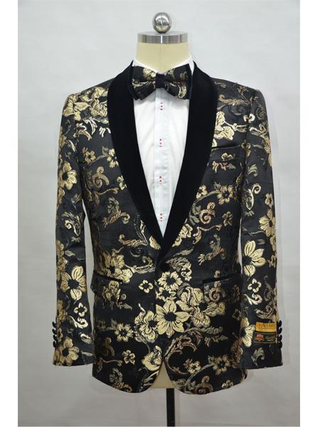 Men's  Black-Gold Four Button Cuff Shawl Lapel Tuxedo