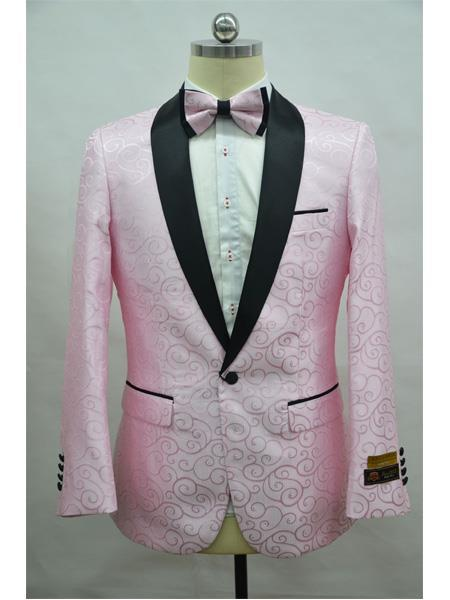 Men's Pink ~ Black Shawl Lapel 1 Button  Suit