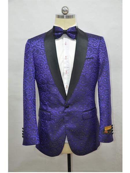 Mens Dark Purple ~ Black Four Button Cuff Tuxedo