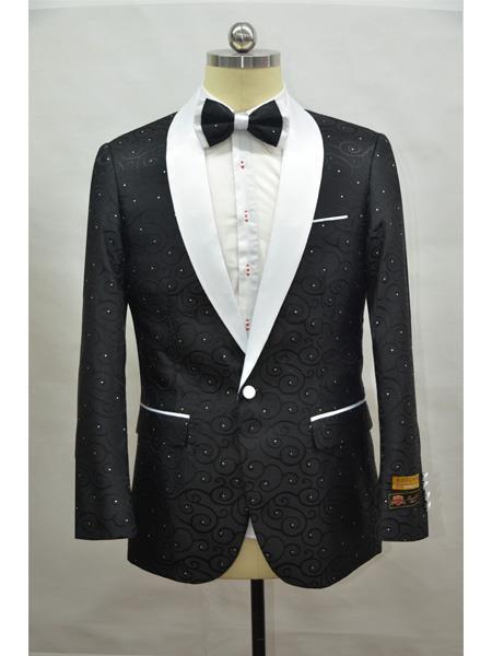 Men's BLack ~ White Four Button Cuff Shawl Lapel Tuxedo
