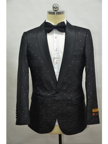 Mens Black Shawl Lapel One Button  Suit