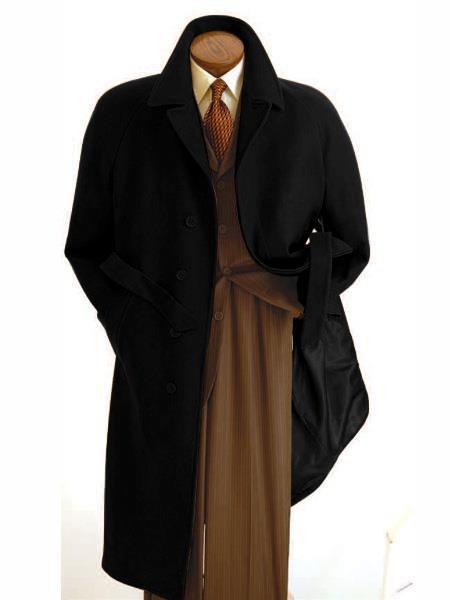 Men's  Peak Lapel Diamond Duster Overcoat Black