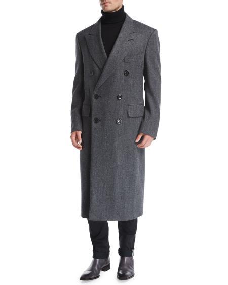 Mens Double-Breasted  Herringbone Top Coat Gray