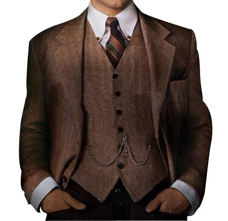 Mens Great Gatsby Vested Mens Clothing Costumes Suits Costumes Outfit Male Attire For Men Slim Fitted
