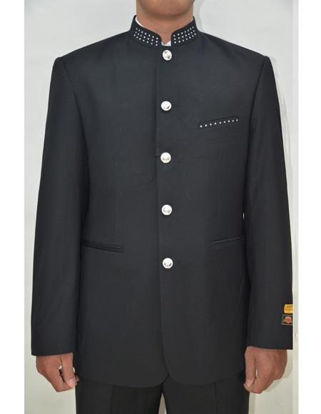 Marriage Groom Wedding Indian Nehru Suit Dimond Buttons Jacket Mens Blazer Black - Mens Preaching Jacket