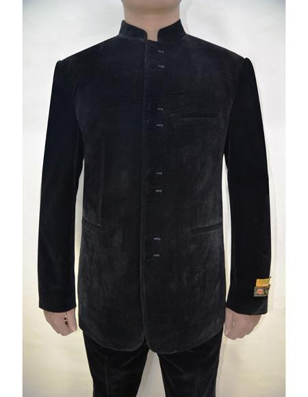 Marriage Groom Wedding Indian Nehru Suit Jacket Solid  Velvet Fabric Pattern Mens Blazer Black - Mens Preaching Jacket