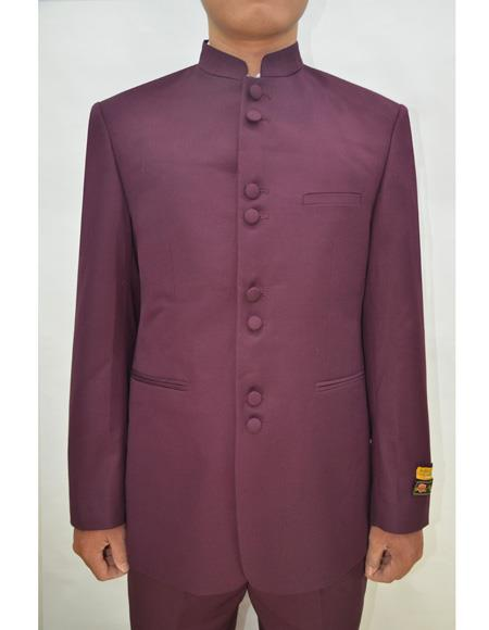 Marriage Groom Wedding Indian Nehru Suit Jacket Mens Blazer Burgundy