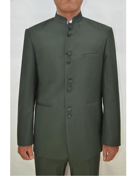 Men's Olive Band Collar  Suit - Men's Preaching Jacket