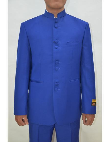 Marriage Groom Wedding Indian Nehru Dress Suits for Men Jacket Mens Blazer Royal ~ Blue - Mens Preaching Jacket