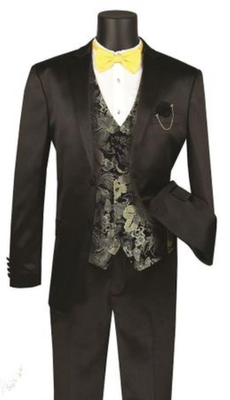 Men's  Shawl Lapel Shiny Stripe 3 Piece Fashion Suit Black