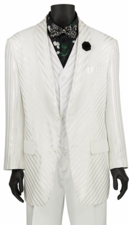 cab81749d98 SKU JA741 Mens Single Breasted White Shiny Stripe 3 Piece Fashion Suit
