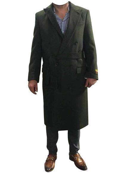 DBCoat Mens Alberto Nardoni Belted Wool Coat Overcoats ~ Topcoat Double Breasted Suit Full Length