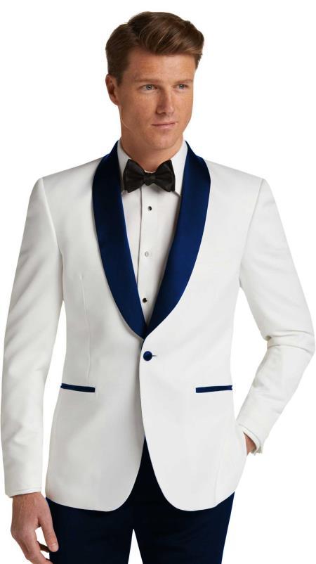 Mens Navy Blue Slim Fit Tuxedo Dinner Jacket