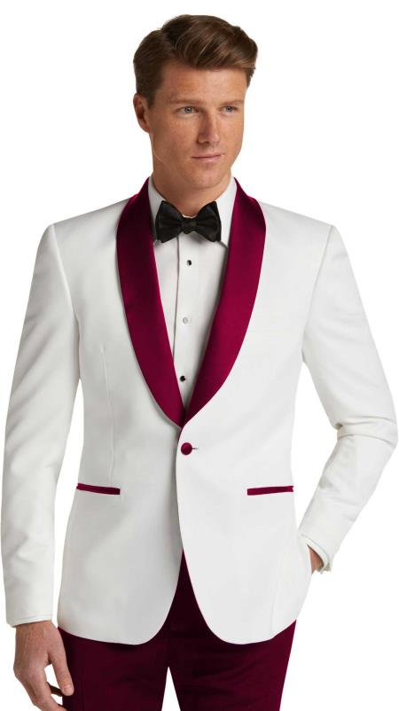 Mens Single Breasted Burgundy Slim Fit Tuxedo Dinner Jacket
