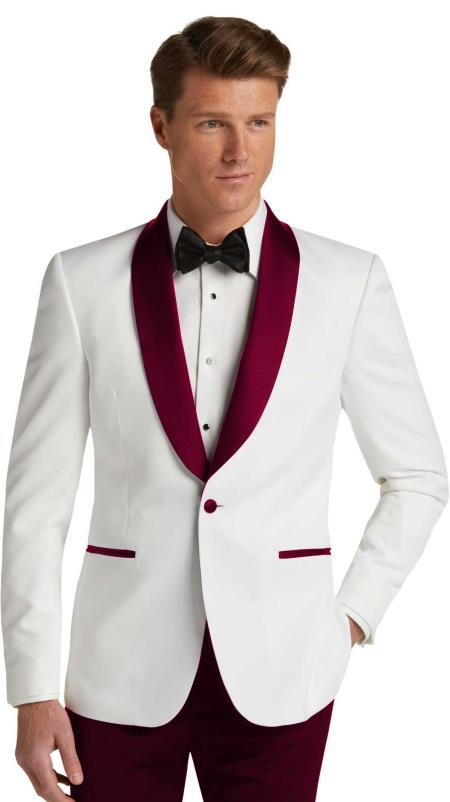 Men's  Dark Burgundy Slim Fit Tuxedo Dinner Jacket Burgundy Tuxedo