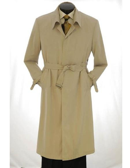 Men's Vintage Style Coats and Jackets Mens Big And  Tall Trench Coat Light Khaki $199.00 AT vintagedancer.com