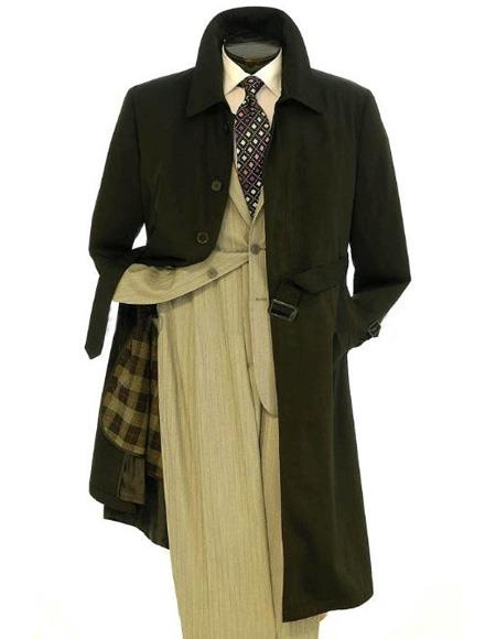 1950s Men's Clothing Mens Big And  Tall Trench Coat Black $159.00 AT vintagedancer.com