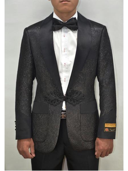 Men's Black Shiny Pattern  One Button Floral Pattern Blazer