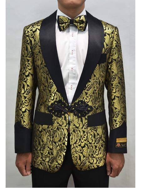 Men's Gold ~ Black One Button Floral Pattern Blazer