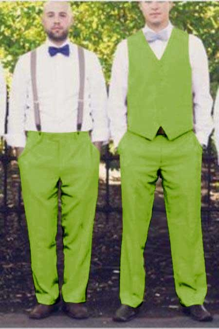 Matching Waistcoat Wedding ~ Prom Tuxedo Wedding Vest & Flat Front Pants Set Apple Green