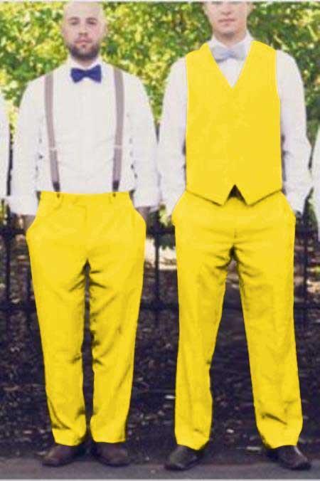 Matching Waistcoat Wedding ~ Prom Vests & Flat Front Pants Set Yellow