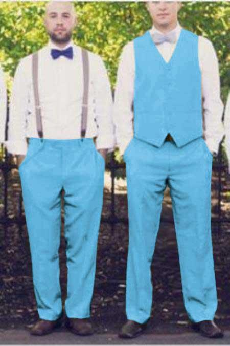 Matching Waistcoat Wedding ~ Prom Dress Tuxedo Wedding Men's Vest ~ Waistcoat ~ Waist coat & Flat Front Pants Set Sky Blue