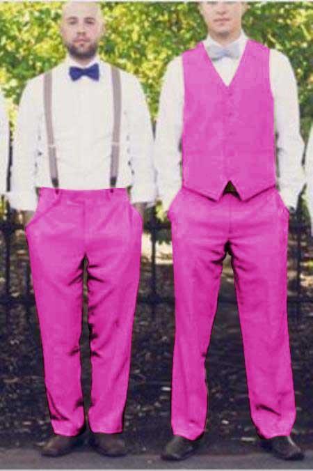 Matching Waistcoat Wedding ~ Prom Vests & Flat Front Pants Set Fuschia