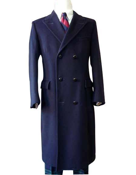 Men's Vintage Jackets & Coats Alberto Nardoni   Overcoat  Wool t Duster Style Navy Blue $299.00 AT vintagedancer.com