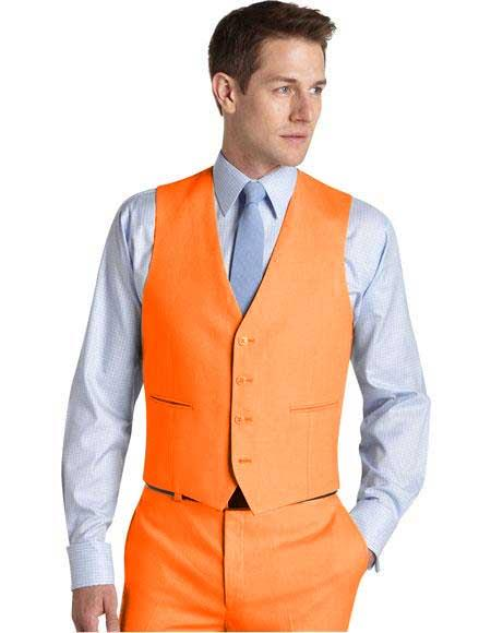 Matching Waistcoat Wedding ~ Prom Dress Tuxedo Wedding Vest ~ Waistcoat ~ Waist coat & Orange Flat Front Pants Set