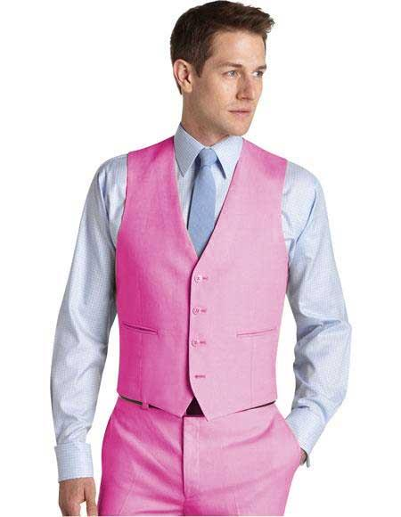 Menss Wedding ~ Prom Pink Matching Waistcoat Dress Tuxedo Mens Vest ~ Waistcoat ~ Waist coat & Flat Front Pants Set