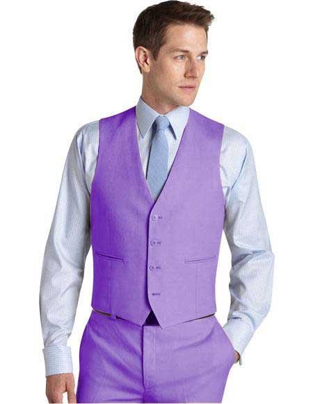 Matching Waistcoat Wedding ~ Prom Dress Tuxedo Wedding Vest ~ Waistcoat ~ Waist coat & Flat Front Pants Set Lavender