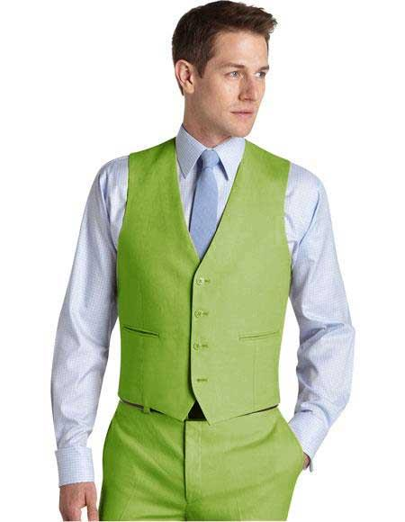 Matching Waistcoat Wedding ~ Prom Dress Tuxedo Wedding Vest ~ Waistcoat ~ Waist coat & Flat Front Pants Set Apple Green