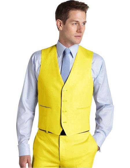 Matching Waistcoat Wedding ~ Prom Dress Tuxedo Wedding Men's Vest ~ Waistcoat ~ Waist coat & Flat Front Pants Set Yellow