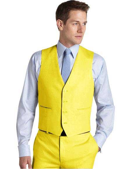 Matching Waistcoat Wedding ~ Prom Dress Tuxedo Wedding Vest ~ Waistcoat ~ Waist coat & Flat Front Pants Set Yellow