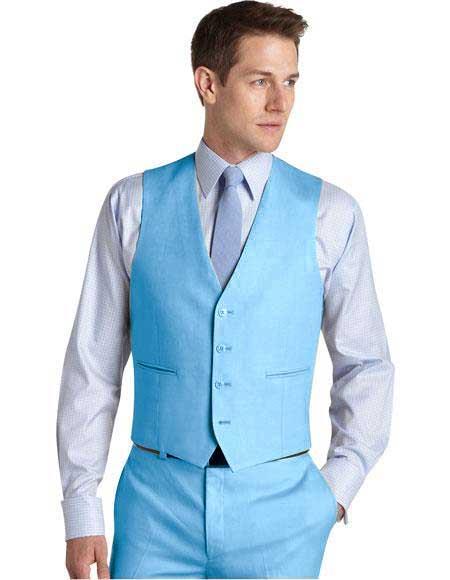 Matching Waistcoat Wedding ~ Prom Dress Tuxedo Wedding Vest ~ Waistcoat ~ Waist coat & Flat Front Pants Set Sky Blue